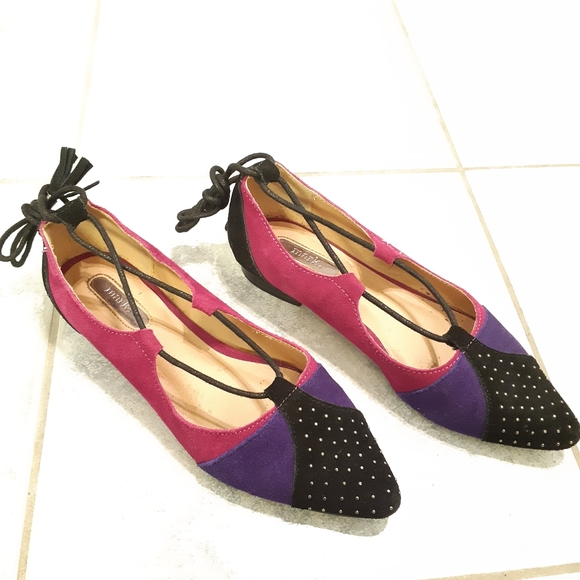 Women faux suede pointy lace up flats size 7